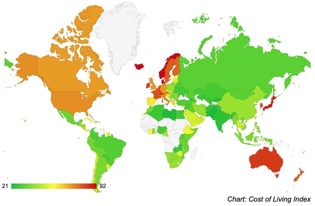 物価が安い国ランキング(海外移住)